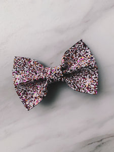 Pink & Gold Glitter Hair Bow Clip