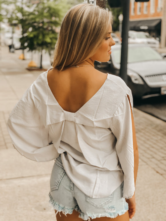 Grey Bow Back Top