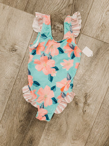 Toddler Mint & Pink Floral Swimsuit