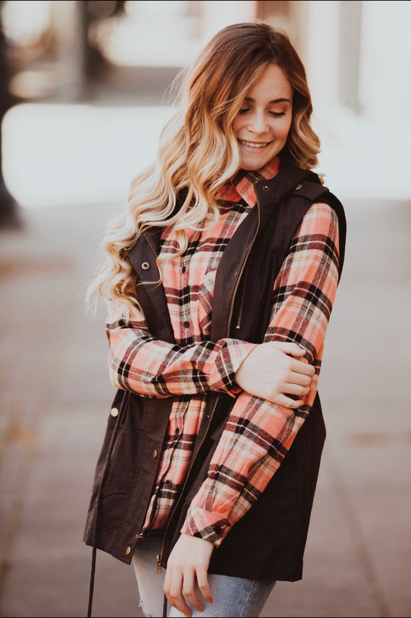 Coral and Black Plaid Sherpa Lined Button Up