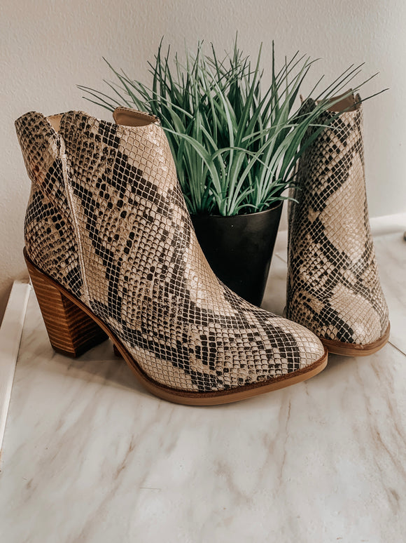 Patton Healed Snake Print Booties