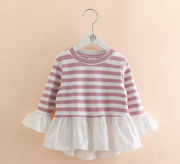 Mauve & White Striped Patchwork Top