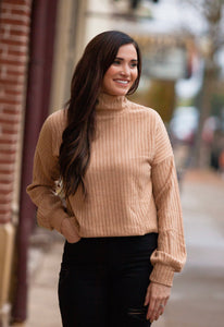Heinen Camel Mock Neck Sweater