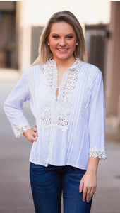 Mock Neck Button Down w/ Crochet Detail