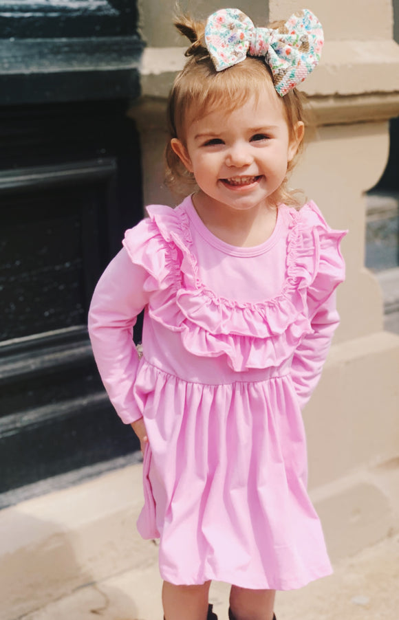 The Madeline Dress w/ Headband-Pink