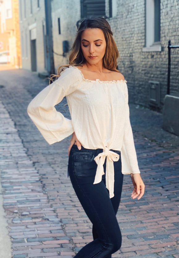 Cream Off Shoulder Bell Sleeve