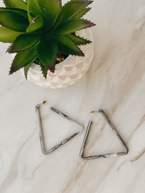Grey Marbled Triangle Earrings