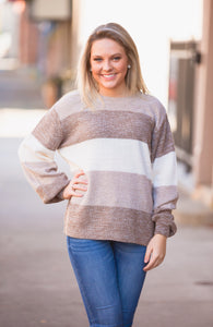 Mocha Color Block Balloon Sleeve Sweater