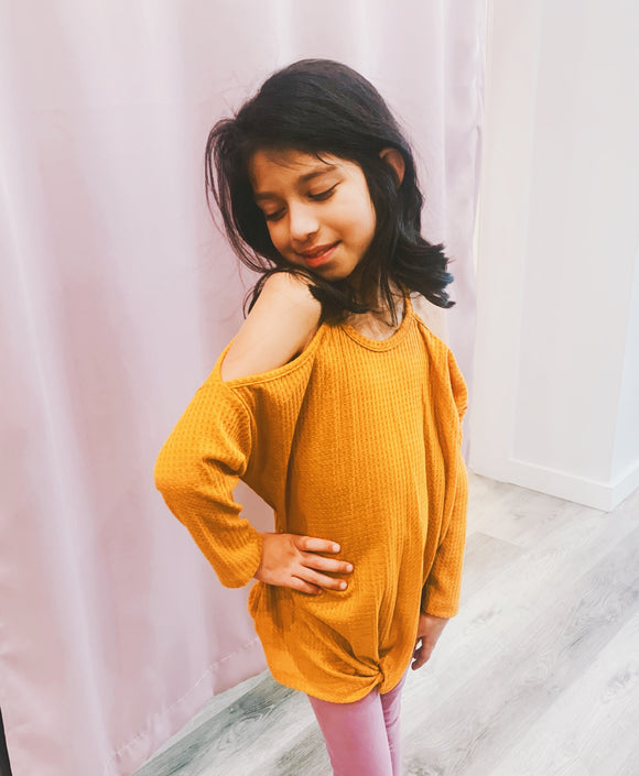 Mustard Girls Cold Shoulder Top