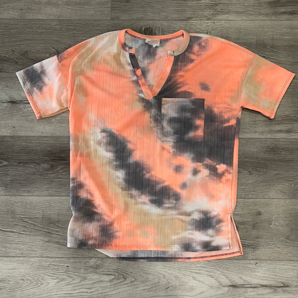Tie Dye Textured Knit Top w/ Front Pocket