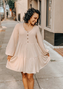 Taupe Button Ballon Sleeve Knit Tiered Dress