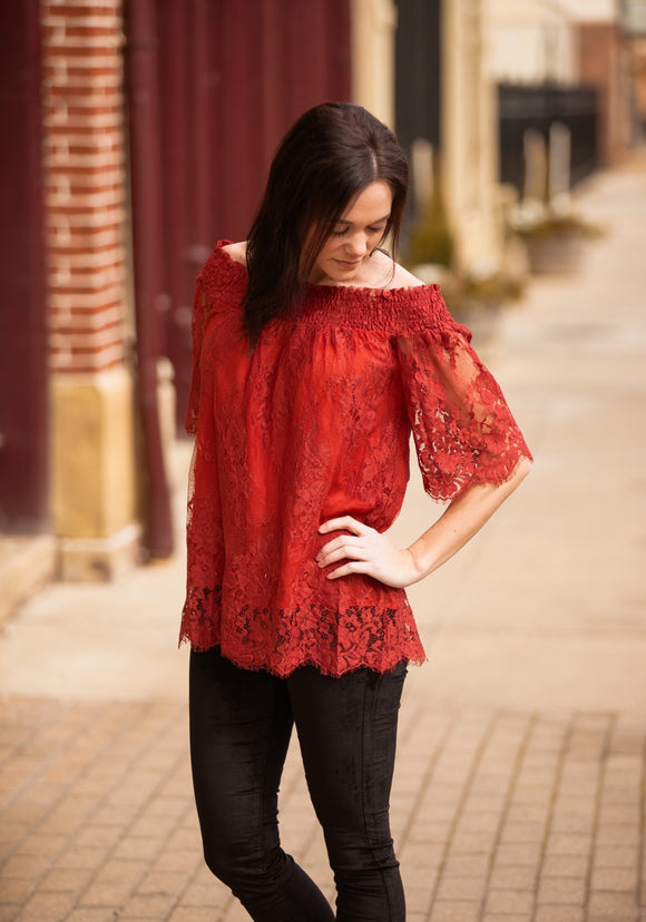 Rust Off Shoulder Lace Top