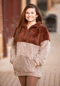 Light Brown Two Tone Faux Fur Half Zip Pullover