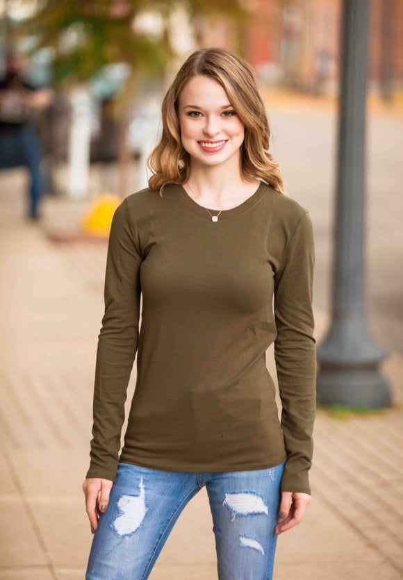 Cotton Long Sleeve Round Neck Top (Multiple Colors)