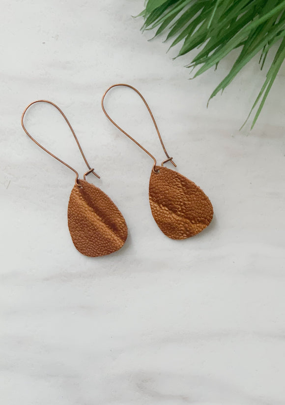 Brown Leather Dangle Earring-One pair left!