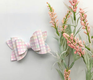 Pastel Checkered Leather Hair Bow