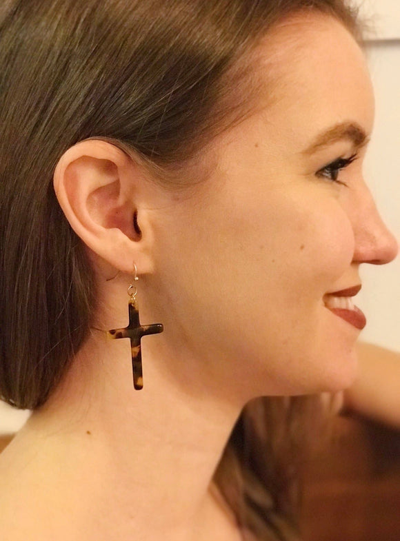Tortoise Cross Earrings