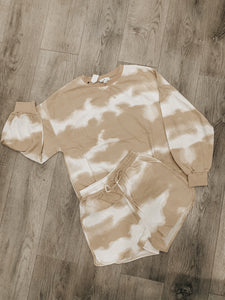 Taupe Tie Dye Top & Shorts Set