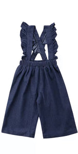 Denim Ruffle Overalls-One Left 2T