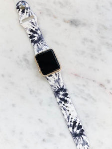 Tie Dye Black & White Silicone Watch Band