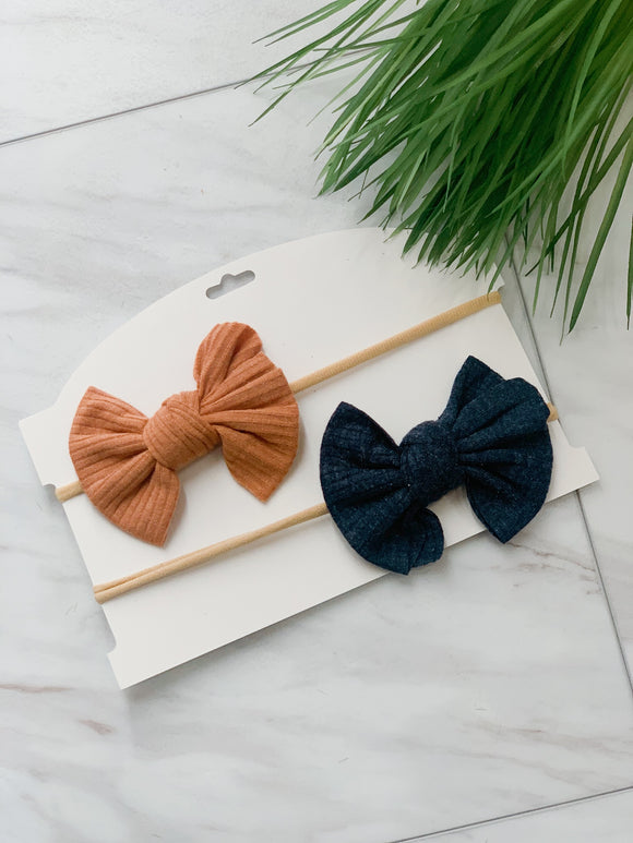 Navy & Camel Headband Set