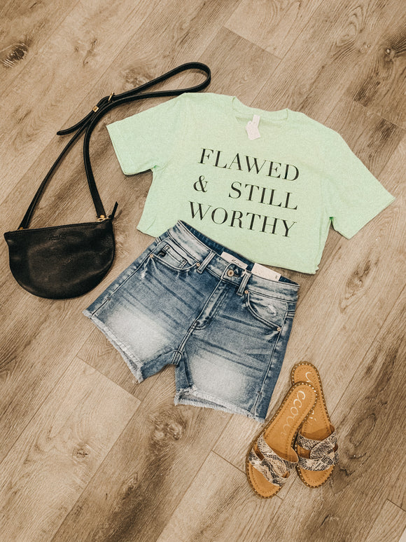 """Flawed & Still Worthy"" Mint Graphic Tee"