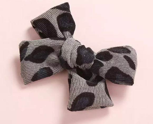 Charcoal Cheetah Corduroy Hair Bow