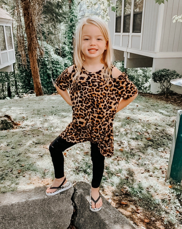 Kids Cut Out Leopard Top
