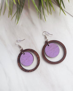 Purple Accent Wooden Earrings
