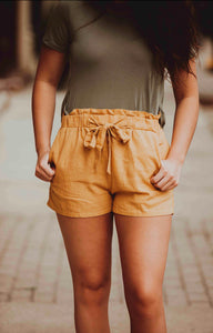 Mustard Self Tie Shorts-Two Left SM & LG