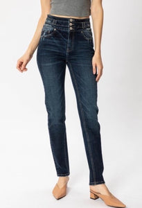 High Rise Stacked Waistband Girlfriend Jean