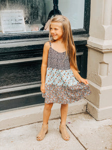 Girl's Navy Patchwork Dress