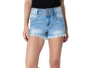 Triple Button Distressed Shorts-One SM left
