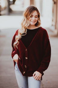 Oversized Button Down Melange Sweater Cardigan (Multiple Color Options)