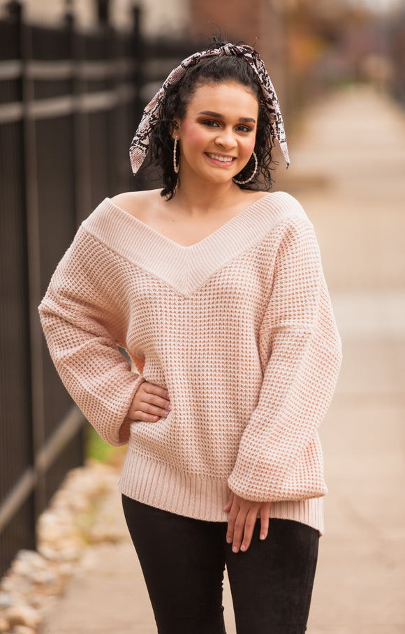 Balloon Sleeve V-Neck Waffle Sweater (Multiple Color Options)