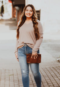 Taupe V-Neck Waffle Knit Top