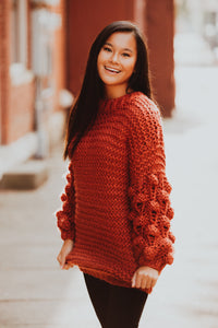 Bubble Sleeve Hand Knitted Sweater (Multiple Color Options)