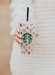LV Starbucks Inspired Travel Cup