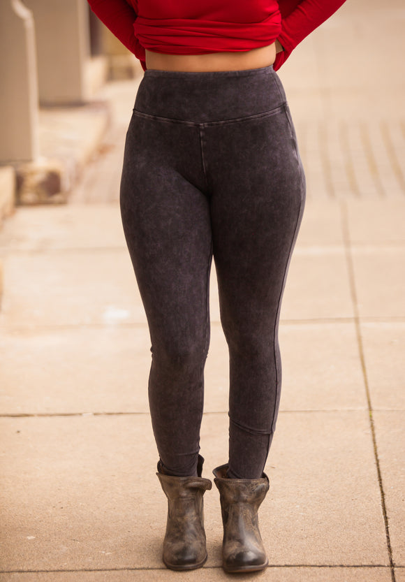 Mineral Washed Wide Waistband Leggings