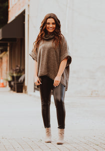 Mocha Fleece Poncho