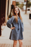 Girls Denim Balloon Sleeve Dress