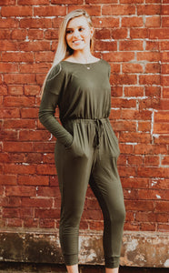 Olive Drawstring Long Sleeve Jumpsuit