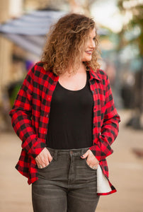 Red & Black Buffalo Plaid Sherpa Lined Button Up