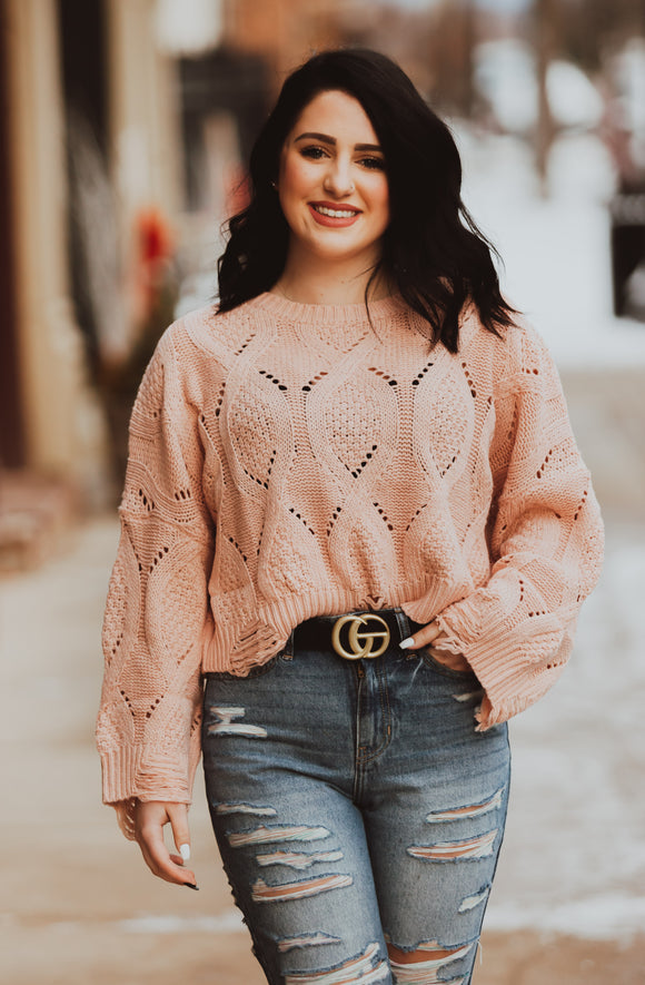 Dusty Distressed Crop Sweater
