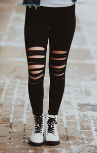 Laser Cut Wide Waist Band Leggings
