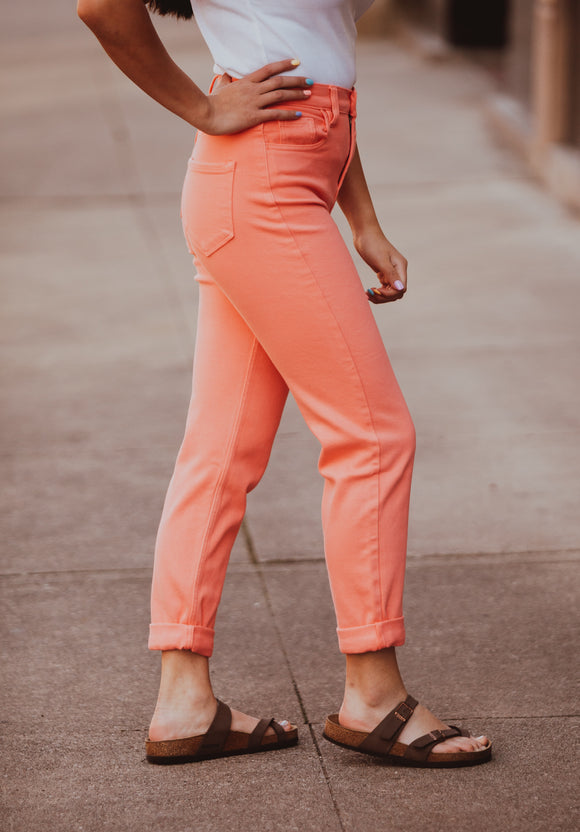 Cello High Rise Coral Mom Jean