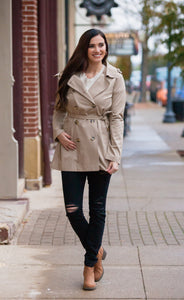 Double Breasted Cotton Twill Trench Coat (Multiple Color Options)
