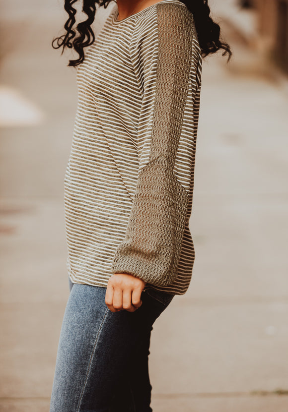 Olive Knit Sleeve Detail Striped Top