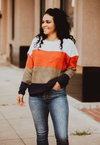 Fall Vibes Color Block Knit Sweater