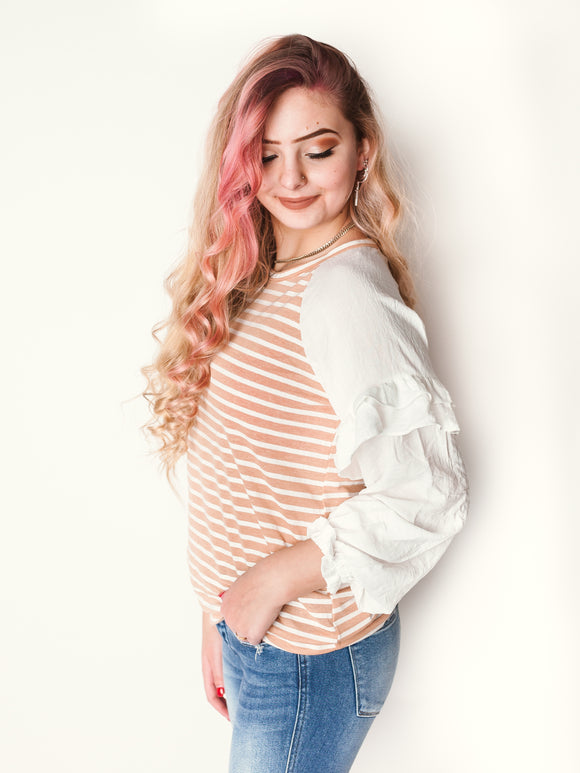 Sunkissed Striped Ruffle Sleeve Top-One Left (SM)
